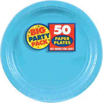 "Caribbean Blue Big Party Pack 7"" Paper Plates 50ct."
