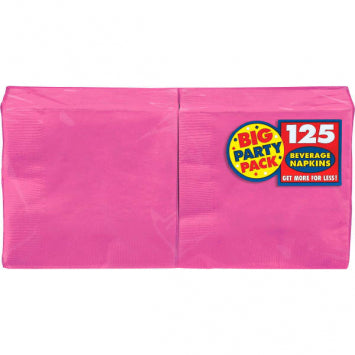 Bright Pink Big Party Pack Beverage Napkins 125ct.