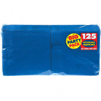 Bright Royal Blue Big Party Pack Beverage Napkins 125ct.