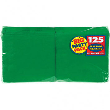 Festive Green Big Party Pack Beverage Napkins 125ct.
