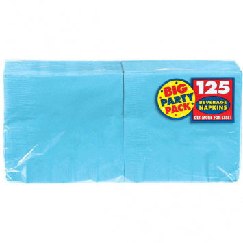 Caribbean Blue Big Party Pack Beverage Napkins 125ct.