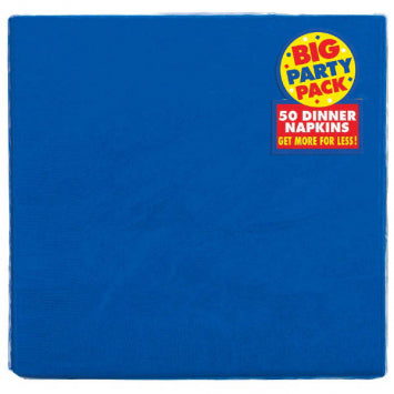 Bright Royal Blue Big Party Pack 2-Ply Dinner Napkins 50ct.