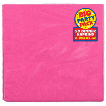 Bright Pink Big Party Pack 2-Ply Dinner Napkins 50ct.