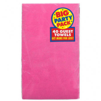 Bright Pink Big Party Pack 2-Ply Guest Towels 40ct.