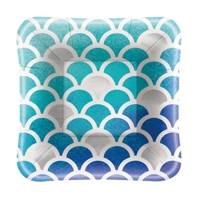 "Ocean Blue Scalloped 5"" Square Appetizer Plates 8ct."