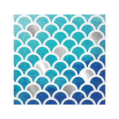 Ocean Blue Scalloped Beverage Napkins 16ct.
