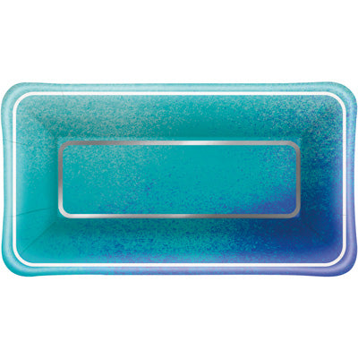 Ocean Blue Scalloped Rectangular Appetizer Plates 8ct.