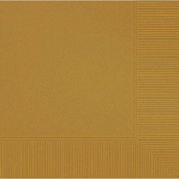 Gold 3-Ply Beverage Napkins 50ct.