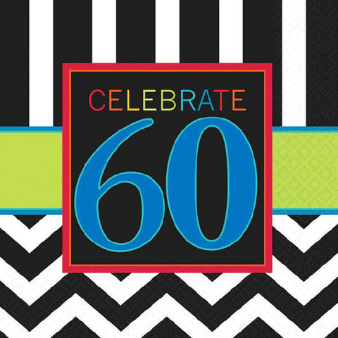 60th Celebration Beverage Napkins 16ct.