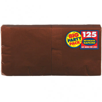 Chocolate Brown Big Party Pack Beverage Napkins 50ct.