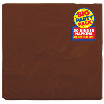 Chocolate Brown Big Party Pack 2-Ply Dinner Napkins 50ct.