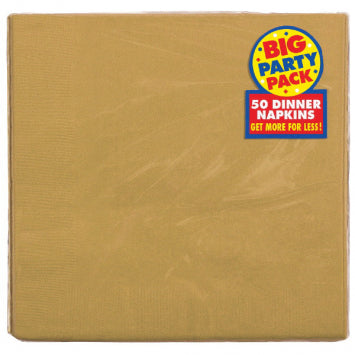 Gold Big Party Pack 2-Ply Dinner Napkins 50ct.