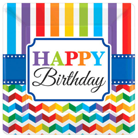 "Bright Birthday 7"" Square Plates 8ct."