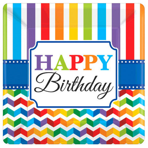"Bright Birthday 10"" Square Plates 8ct."
