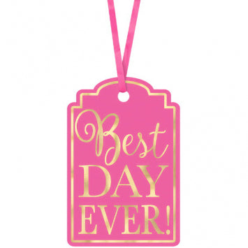 Bright Pink - Best Day Ever Printed Tags 25ct.