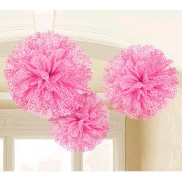 Bright Pink - Fluffy Scroll Tissue Decoration 3ct.