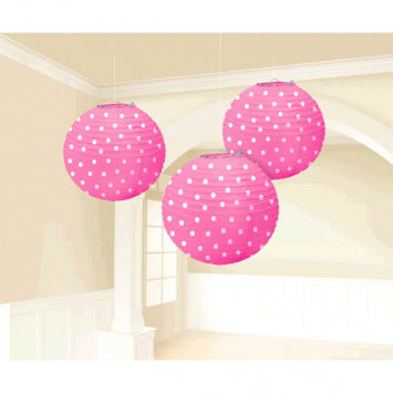 Bright Pink - Dots Printed Paper Lanterns 3ct.
