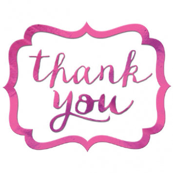 Bright Pink - Thank You Stickers 50ct.