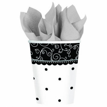 Black & White Wedding 9oz. Cups 8ct.