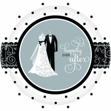 "Black & White Wedding 7"" Plates 8ct."
