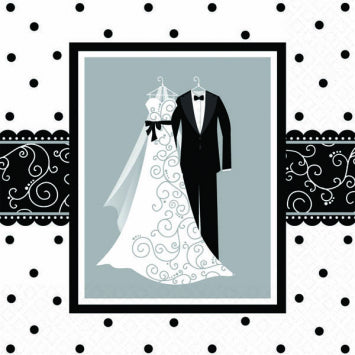 Black & White Wedding Luncheon Napkins 16ct.