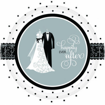 "Black & White Wedding 10 1/2"" Plates 8ct."