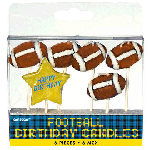 Football Birthday Toothpick Candle Set 6ct.