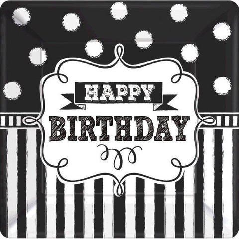 "Chalkboard Birthday Square Plates, 7"" 8ct."