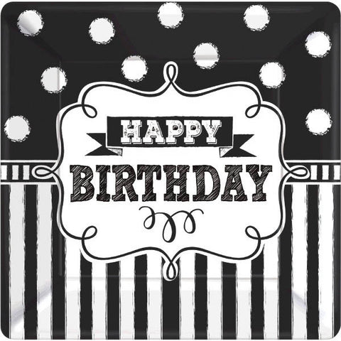 "Chalkboard Birthday Square Plates, 10"" 8ct."