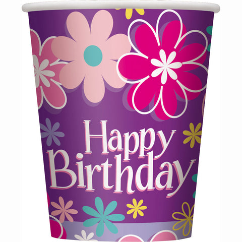 Birthday Blossom 9oz. Cups 8ct.