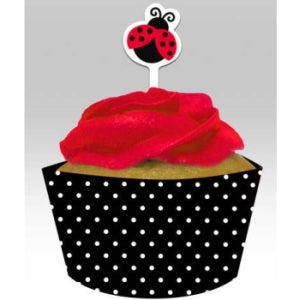Ladybug Fancy Cupcake Wrappers, w/ Picks 12ct.