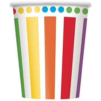 Rainbow Birthday 9oz. Cups 8ct.