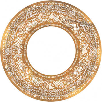 "Delicate Lace Metallic 10 1/2"" Round Plates 8ct."