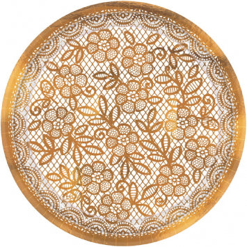 "Delicate Lace Metallic 7"" Round Plates 8ct."