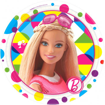 "Barbie Sparkle Round Plates, 7"" 8ct."