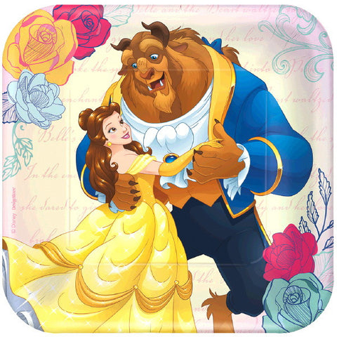 "Beauty And The Beast Square Plate, 7"" 8ct."