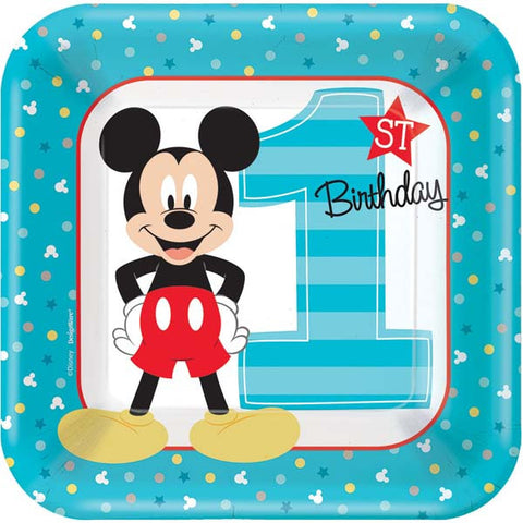 "Mickey's Fun To Be One Square Plates, 7"" 8ct."