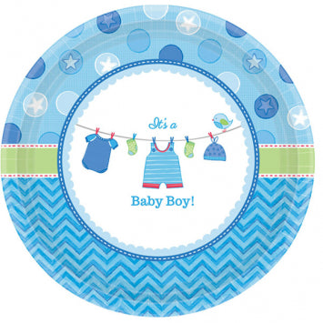 "Shower with Love Boy Round Plates, 10 1/2"" 8ct."