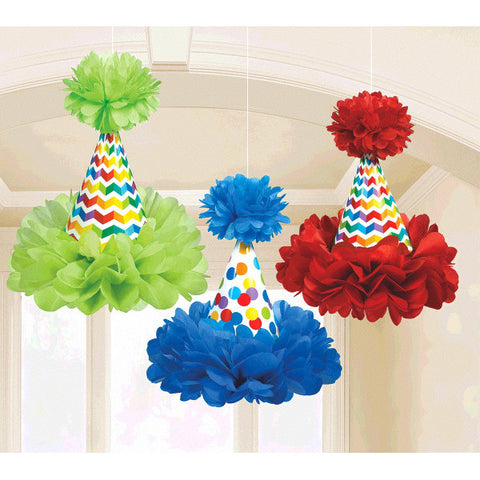 Bright Birthday Cone Hat Fluffy Decorations 3ct.