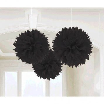 Black Fluffy Paper Decorations 3ct.