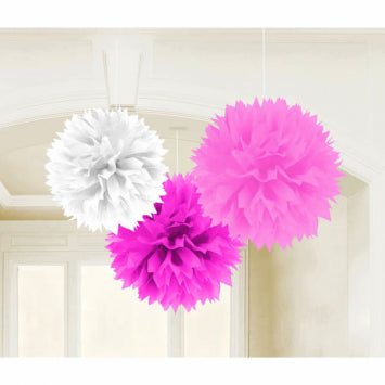 Baby Girl Fluffy Hanging Decorations 3ct.