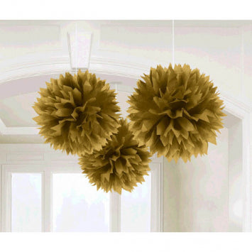Gold Paper Fluffy Decorations 3ct.