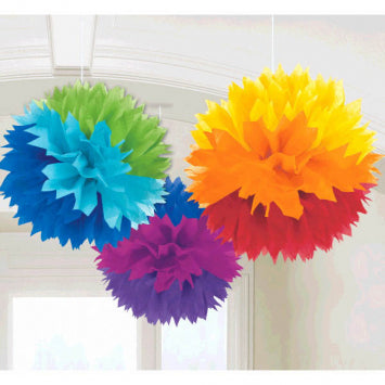 Rainbow Fluffy Paper Decorations 3ct.