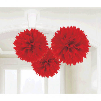 Apple Red Fluffy Paper Decorations 3ct.