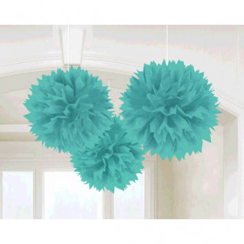 Robin's Egg Blue Paper Fluffy Decorations 3ct.