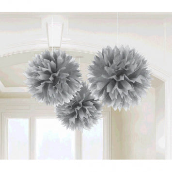 Silver Paper Fluffy Decorations 3ct.