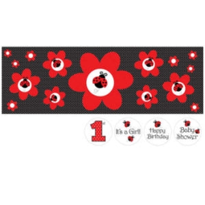 "Ladybug Fancy Giant Party Banner 20"" x 60"" w/ Stickers 1ct."