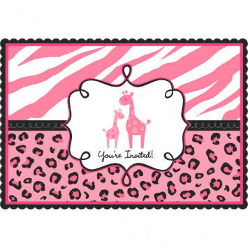 Sweet Safari Girl Postcard Invitations 20ct.