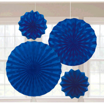 Bright Royal Blue Glitter Paper Fans 4ct.