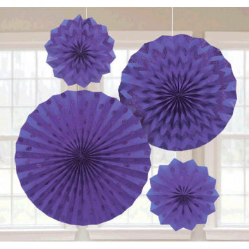 Purple Glitter Paper Fans 4ct.